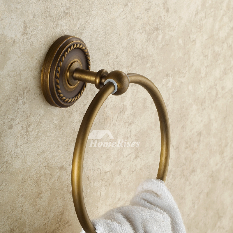 Golden Antique Brass Vintage Towel Ring Bathroom