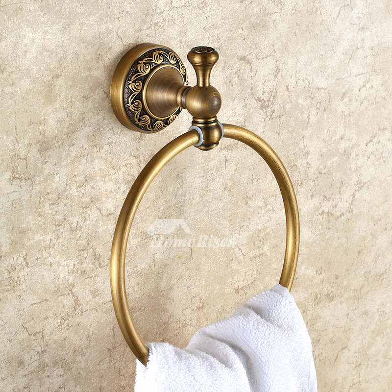 Antique Brass Carved Wall Mount Golden Towel Ring