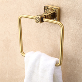 Vintage Golden Antique Bronze Towel Ring