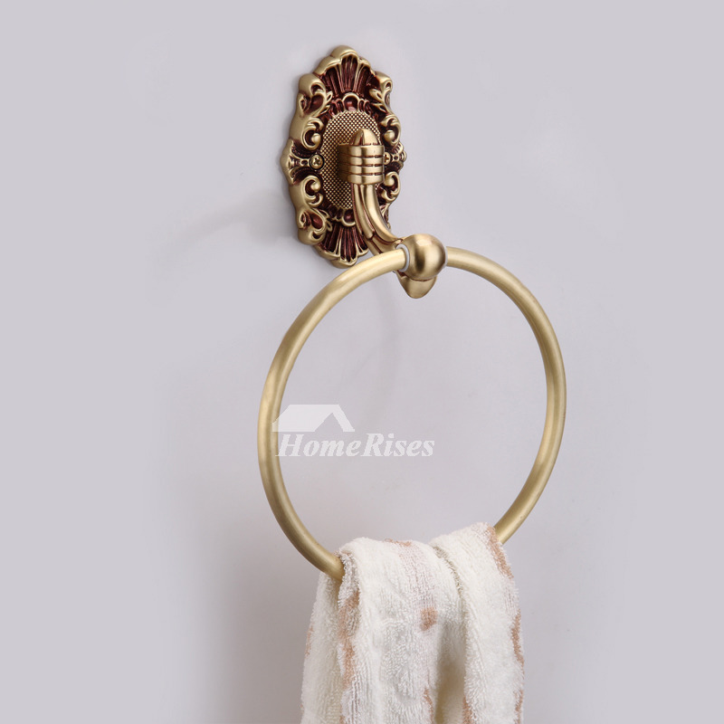 Carved Bathroom Antique Brass Gold Towel Ring