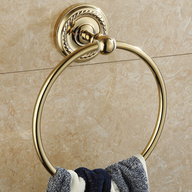 Golden Vintage Polished Brass Towel Ring