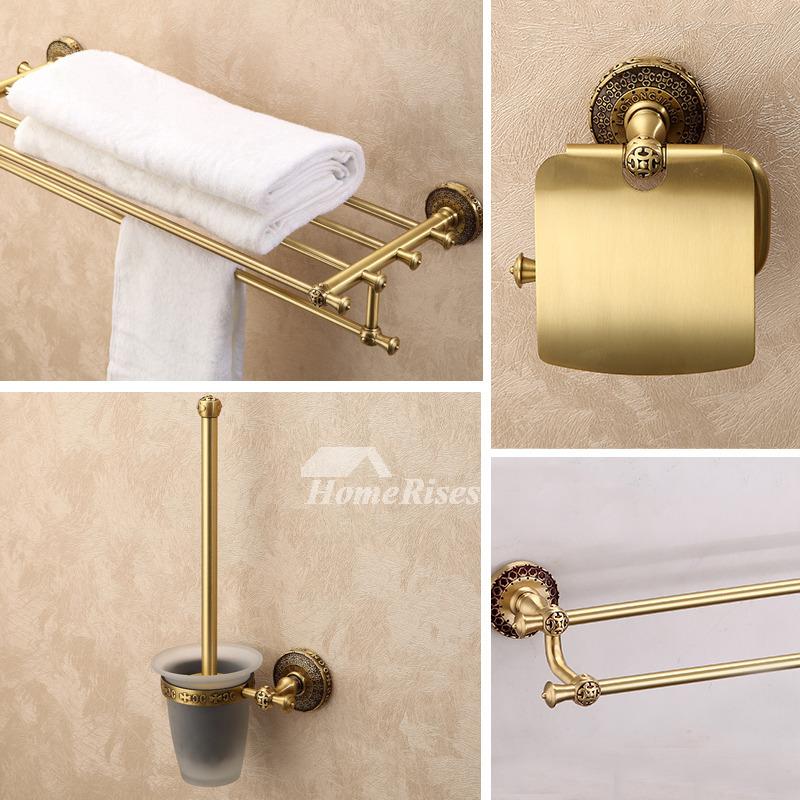 Antique brass 4 piece golden bathroom accessories sets for Vintage bathroom accessories sets