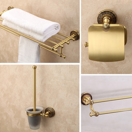 Antique Brass Antique Golden Bathroom Accessories Sets