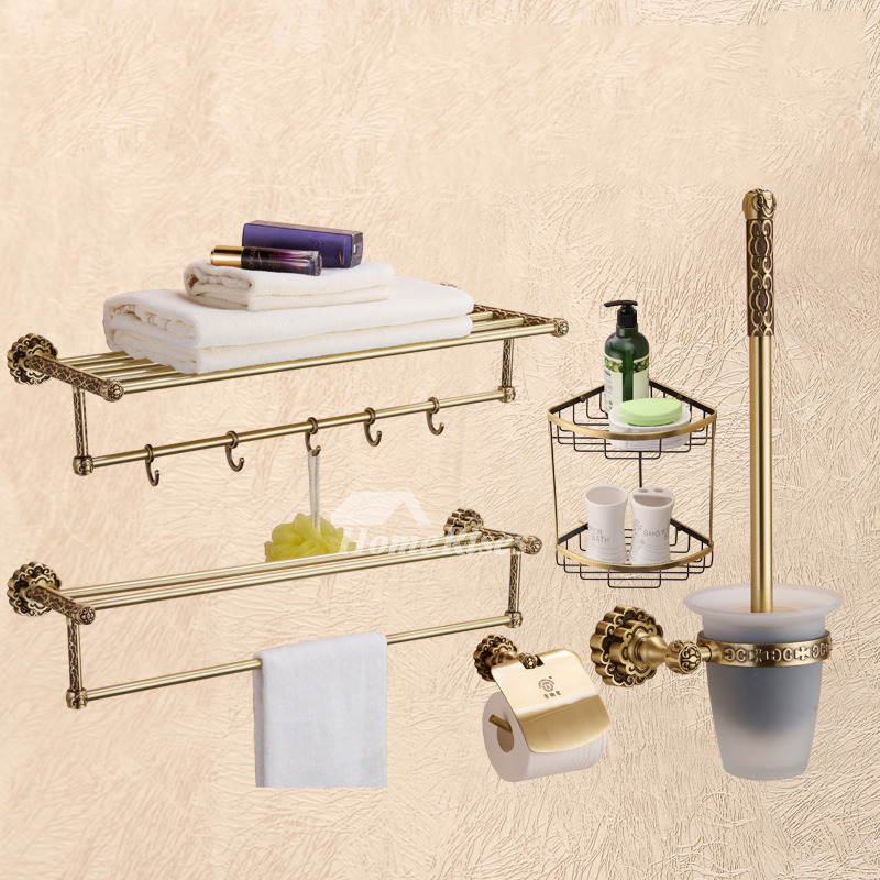 5 Piece Golden Antique Brass Bathroom Accessories Sets