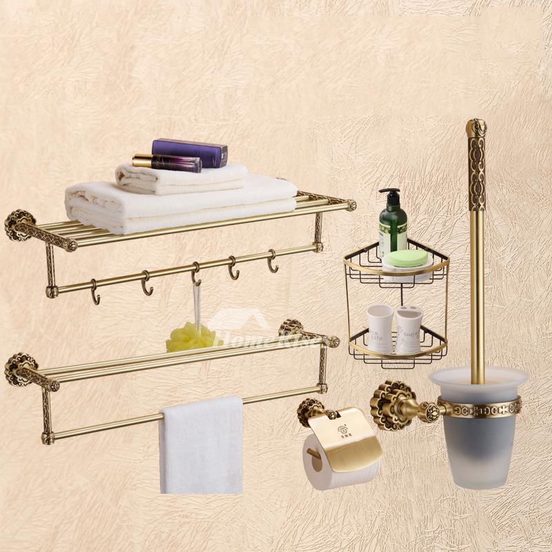 Piece golden antique brass bathroom accessories sets