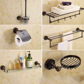 Black Vintage Oil-rubbed Bronze Bathroom Accessories Sets