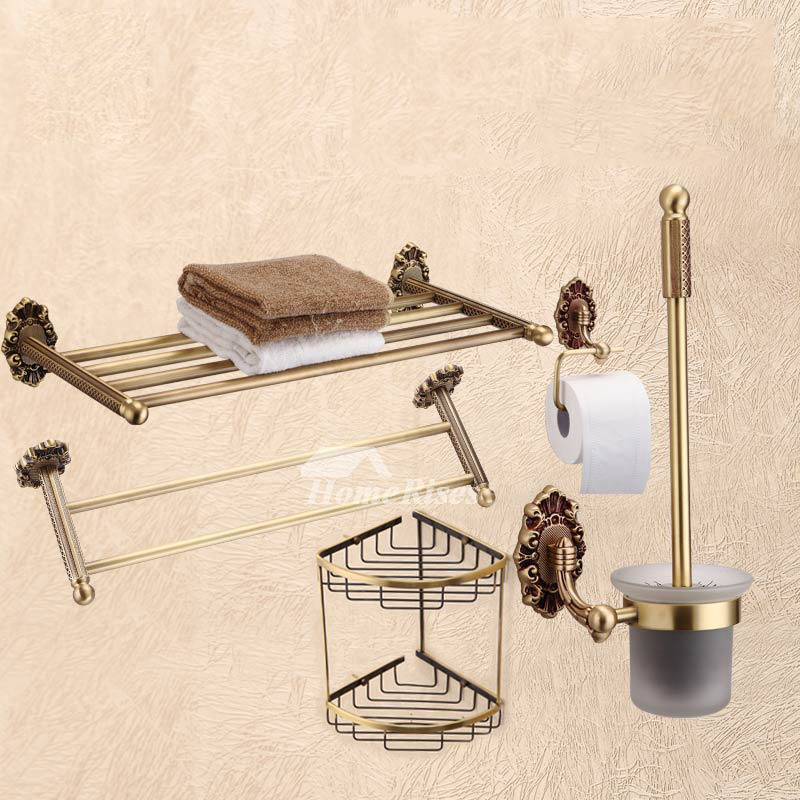 Golden Antique Brass Bathroom Accessories Sets Carved