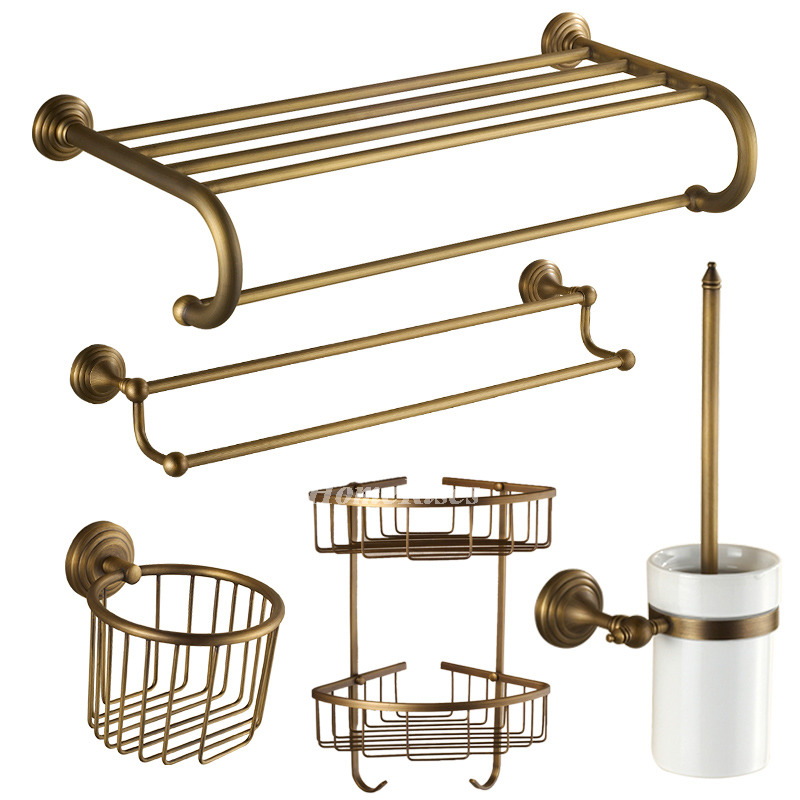 Interior Vintage Bathroom Accessories antique brass vintage bathroom accessories sets golden sets