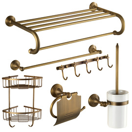 Antique Brass Golden Vintage Bathroom Accessories Sets