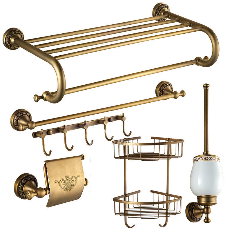 Vintage golden antique brass bathroom accessories sets for Vintage bathroom accessories