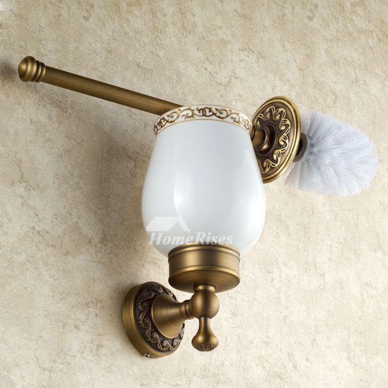 Vintage Golden Antique Brass Toilet Brush Holder