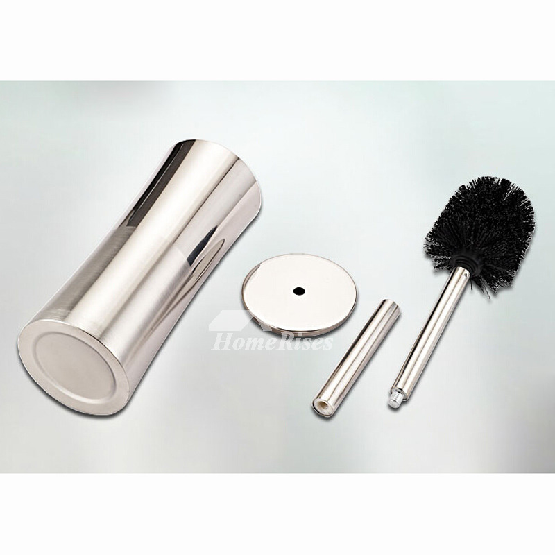 Contemporary Silver Brushed Toilet Brush Holder