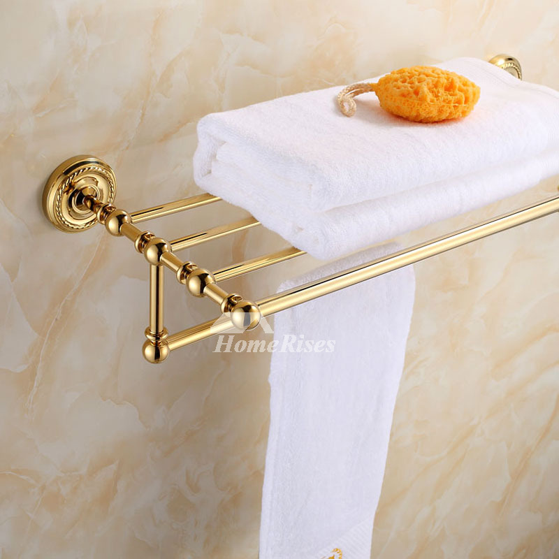 vintage Polished Brass Golden Towel Rack