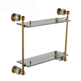 Antique Polished Brass Golden Bathroom Shelves