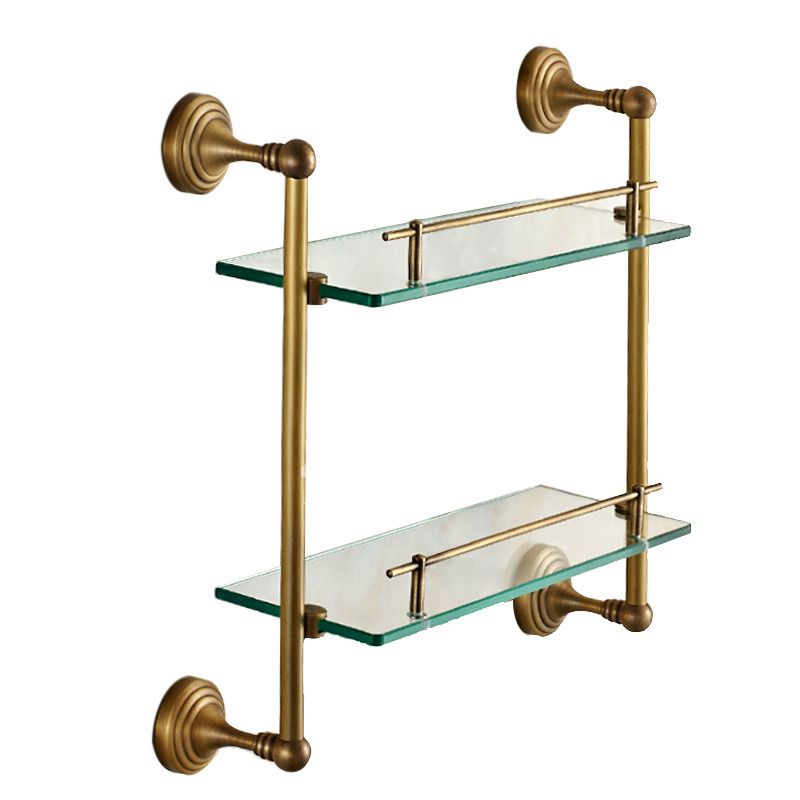 Antique Brass Glass Wall Mount Bathroom Shelves