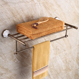 Vintage Nickel Brushed Beige Bathroom Shelves