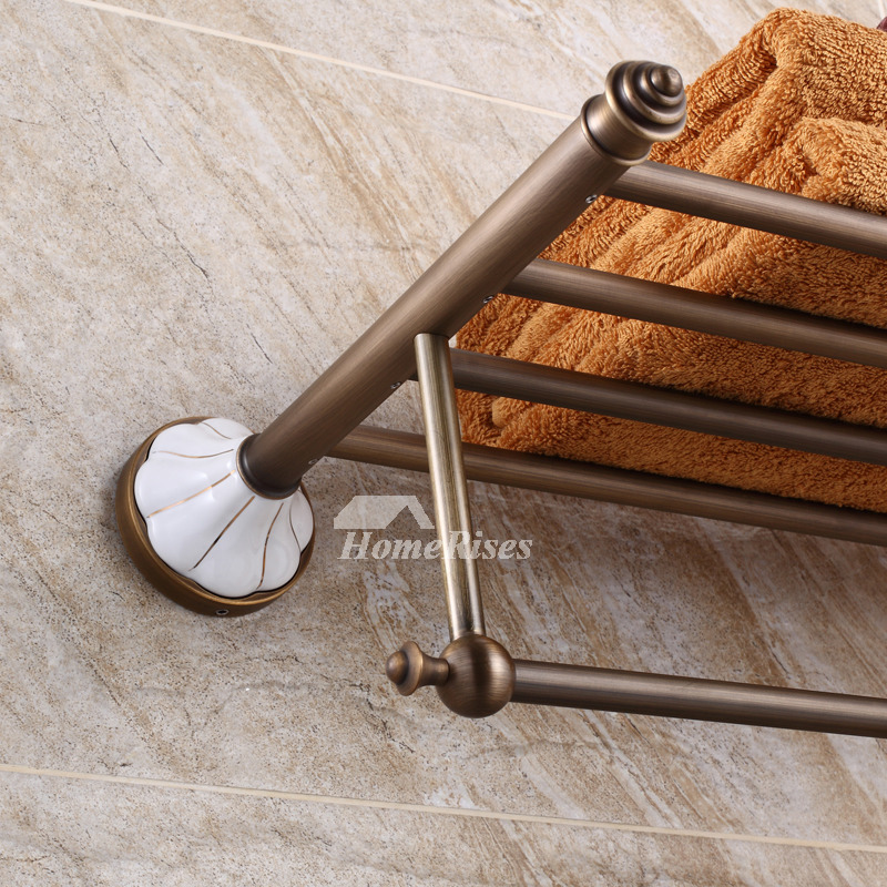 Vintage Antique Brass Brown Towel Rack