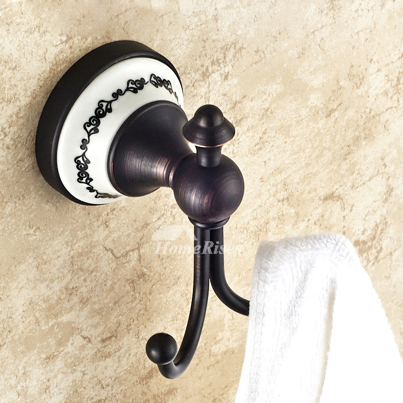 antique Oil-rubbed Bronze Black Robe Hooks