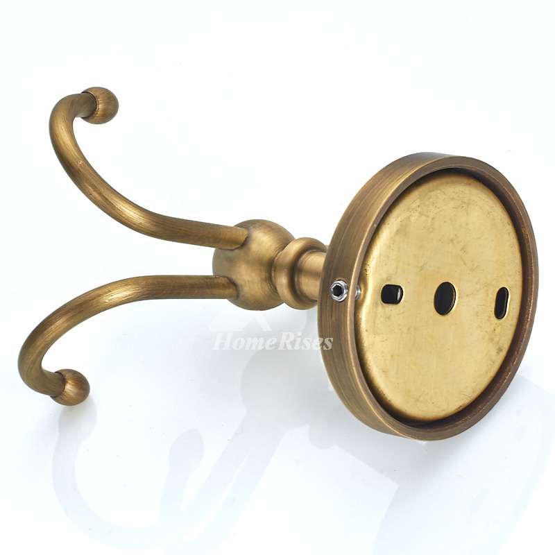 Antique Brass Vintage Golden Robe Hooks Bathroom Brushed