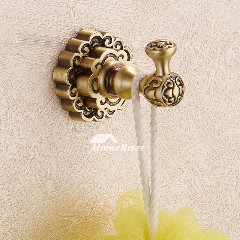 Gold vintage Antique Bronze Robe Hooks Wall Mount Bathroom