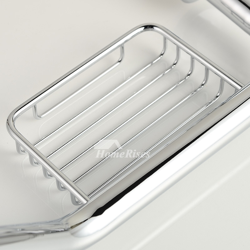 modern Silver Chrome Grab Bar With Soap Dish Brass