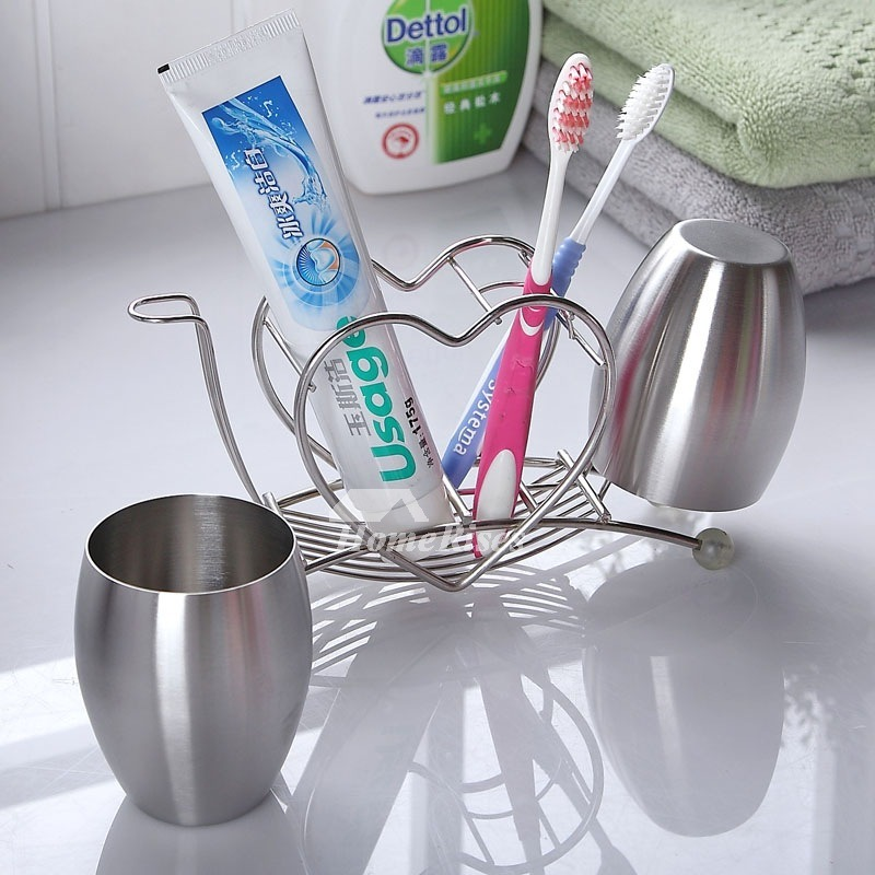 Chrome contemporary Silver Toothbrush Holder