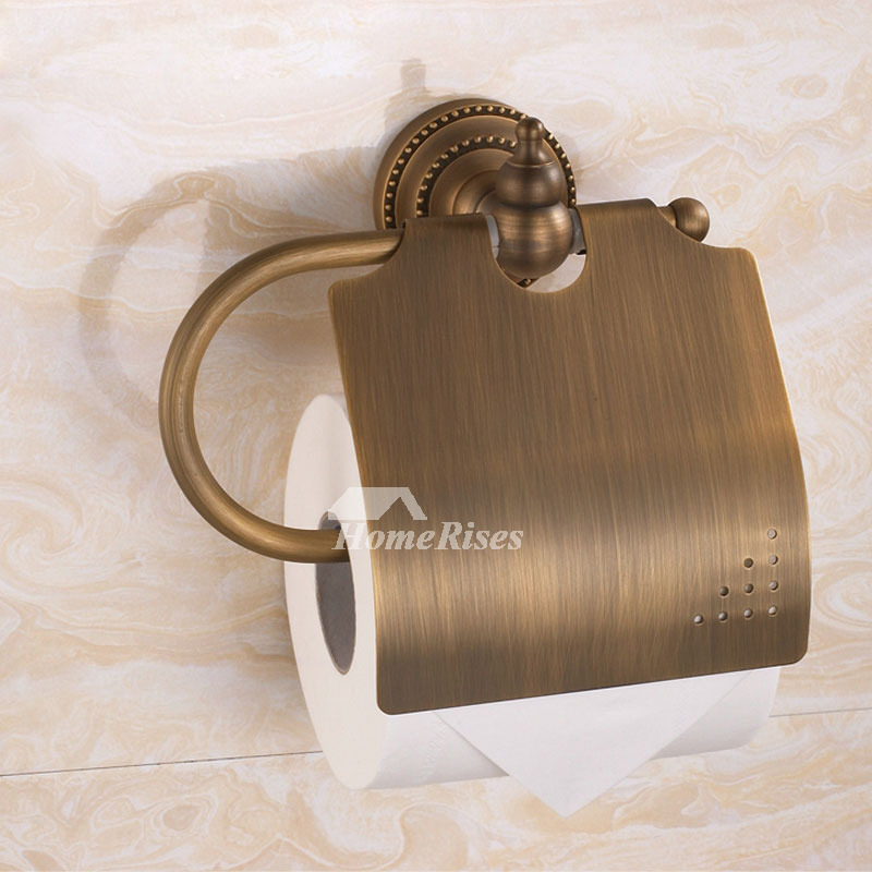 Vintage Brown Antique Brass Toilet Paper Holder