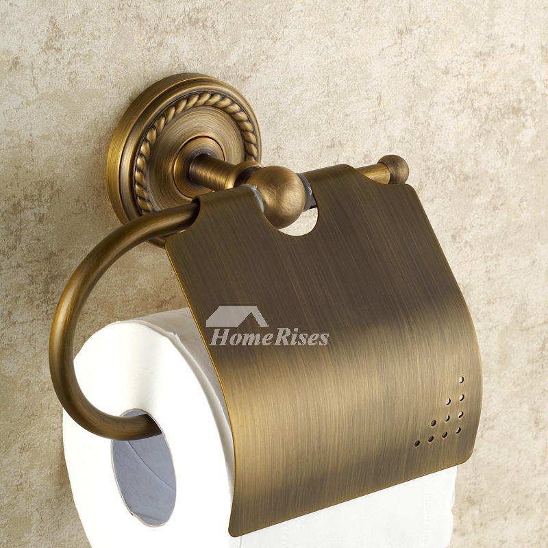 MZ Carved Brushed Antique Wall Mounted Brass Toilet Paper Holder