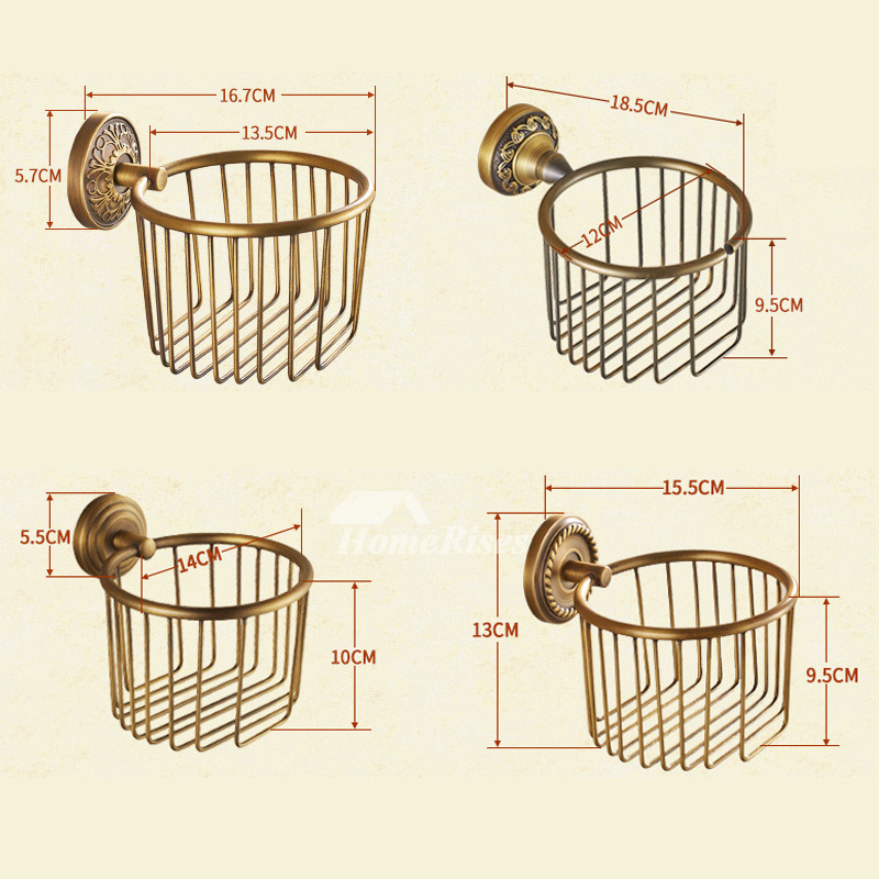 Mz gold antique brushed brass wall mounted toilet paper holder for Brushed gold bathroom accessories