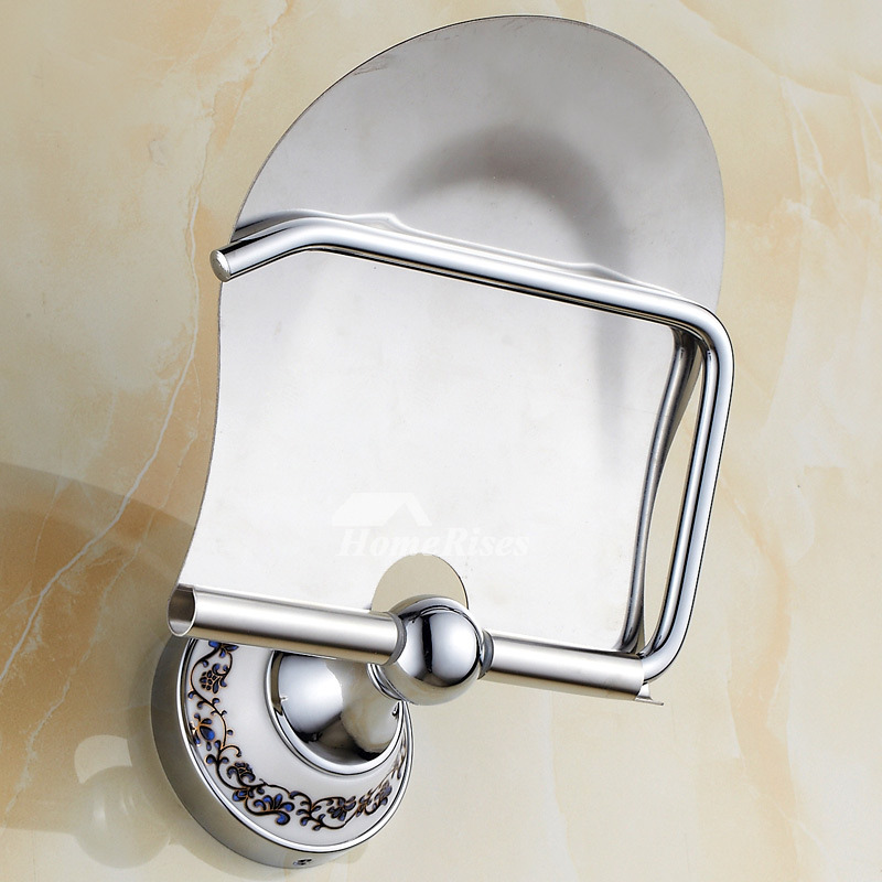 Polished Chrome Gold Brass Wall Mounted Toilet Paper Holder