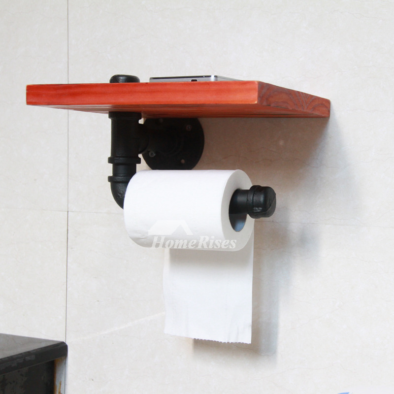 Black Unique Antique Bronze Rustic Wooden Toilet Paper Holder
