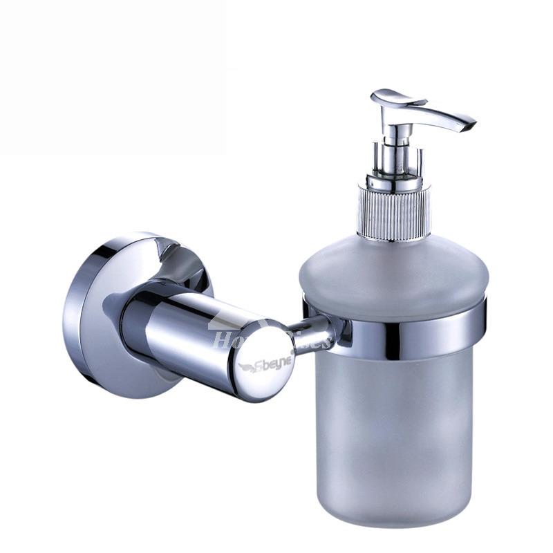 Xble Contemporary Polished Chrome Glass Soap Dispenser