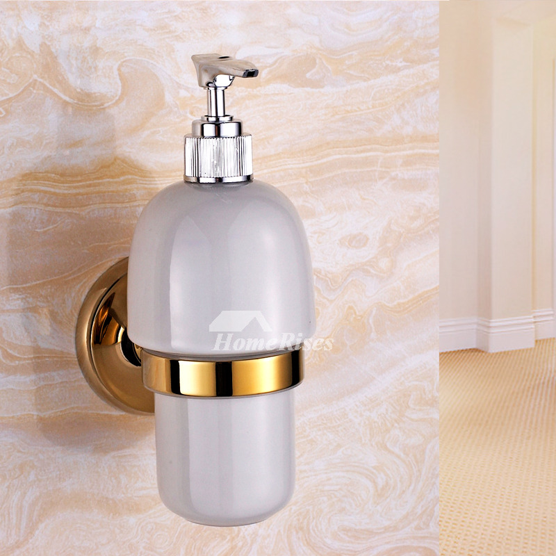 Xble Polished Brass Gold Vintage Wall Mount Liquid Soap