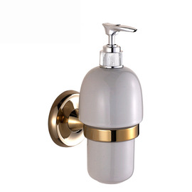 XBLE Polished Brass Gold Vintage Wall Mount Liquid Soap Dispenser