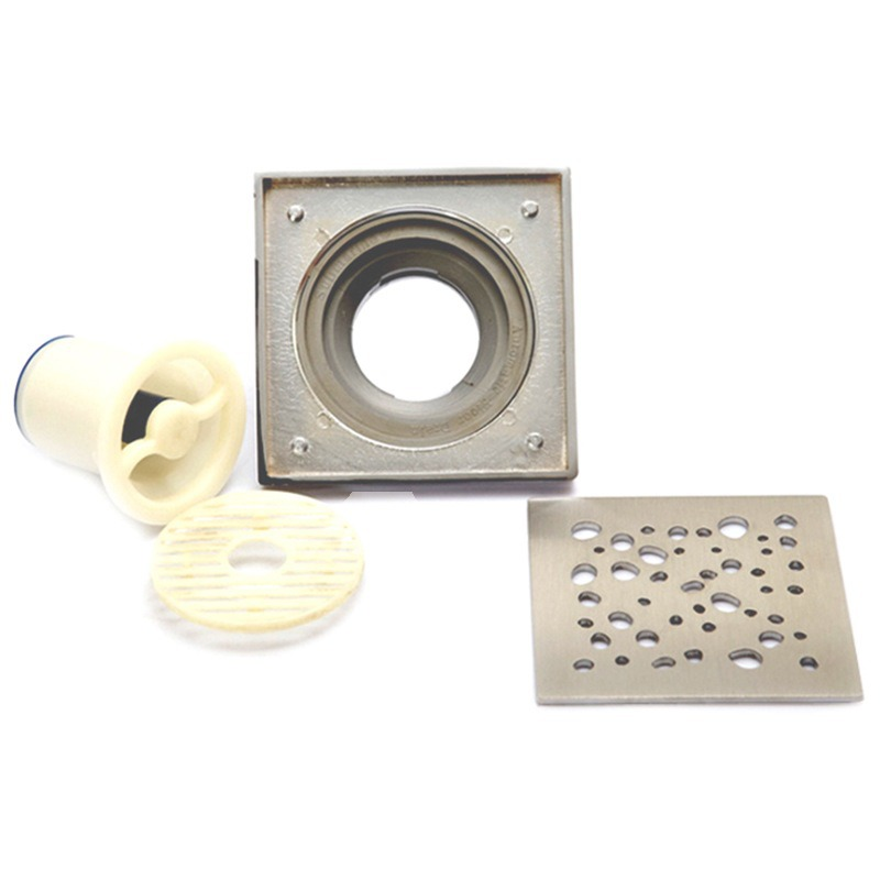 Modern Bubbles Brushed Nickel Square Shower Drain - Floor Drain
