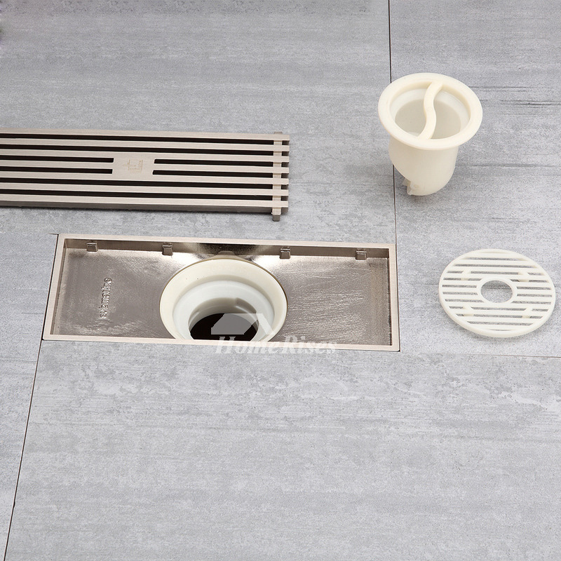 Modern brushed nickel high end parallel shower drain for Ground drain