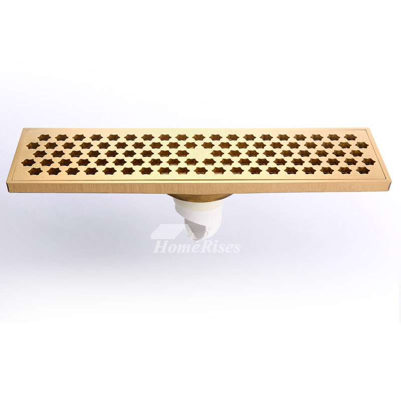 Qst-50 Deodorant Brushed Antique Brass Linear Shower Floor Drain