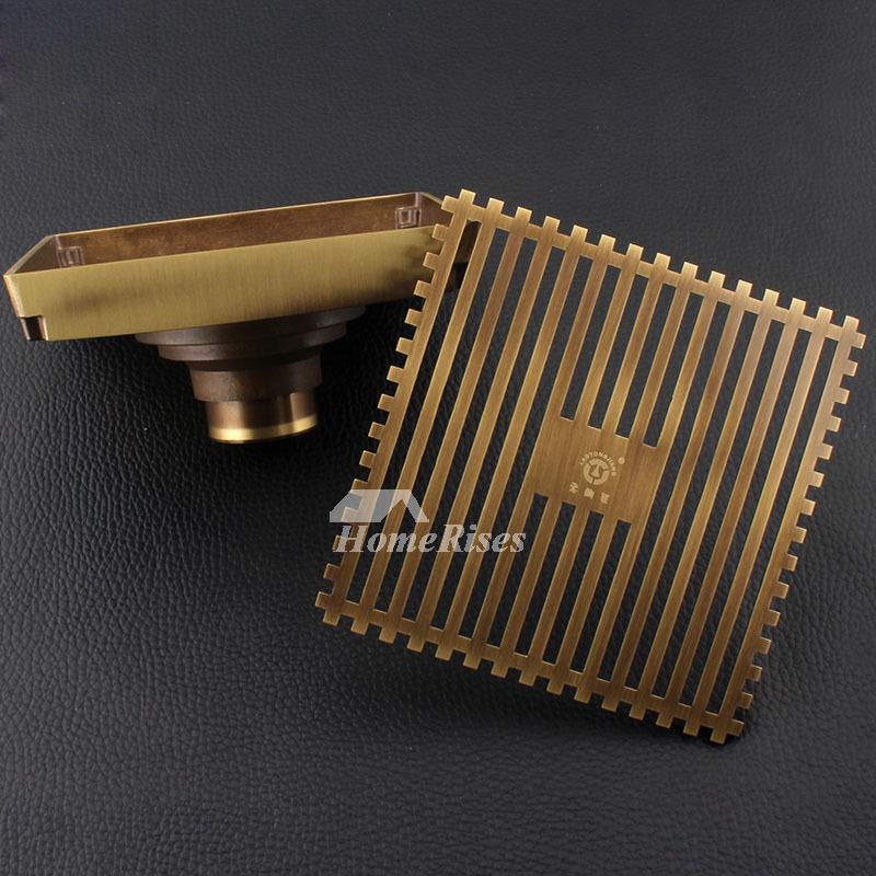 Luxury Gold Antique Bronze Odor Removal Square Shower Drain