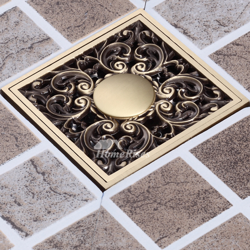 Cheap Antique Bronze Pattern Odor Removal Square Shower Drain