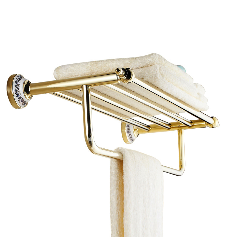 Antique Golden Polished Brass Towel Rack
