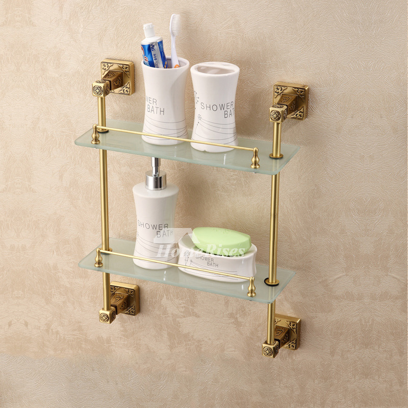 vintage Brown Antique Bronze Bathroom Shelves