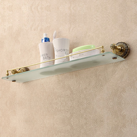 Vintage Golden Antique Bronze Bathroom Shelves