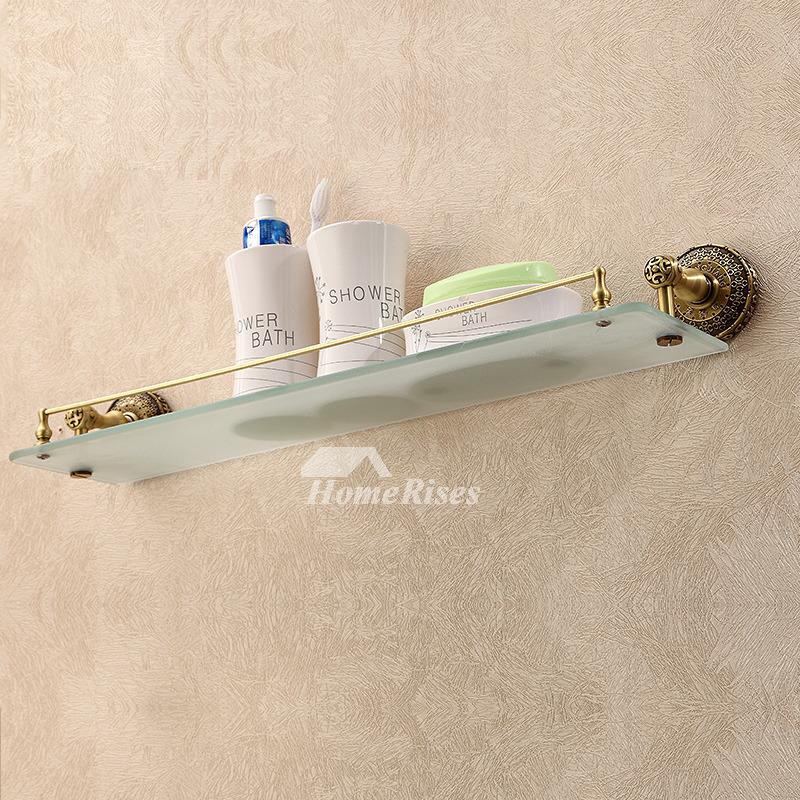 vintage Golden Antique Brass Bathroom Shelves Glass