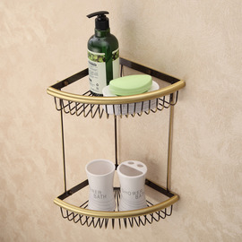Vintage Antique Bronze Brown Bathroom Shelves