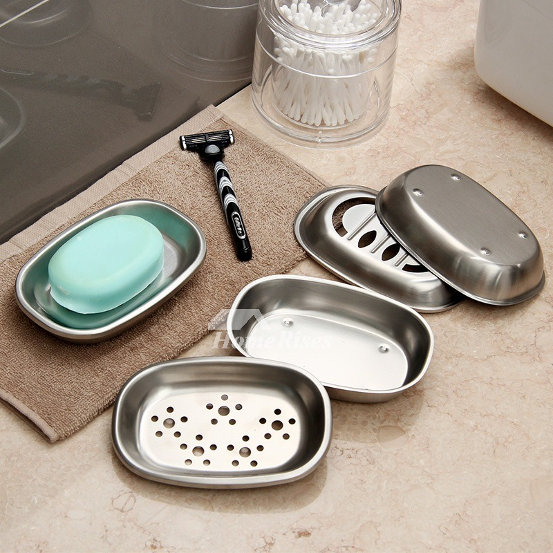 ORZ Modern Brushed Stainless Steel Soap Dish Set