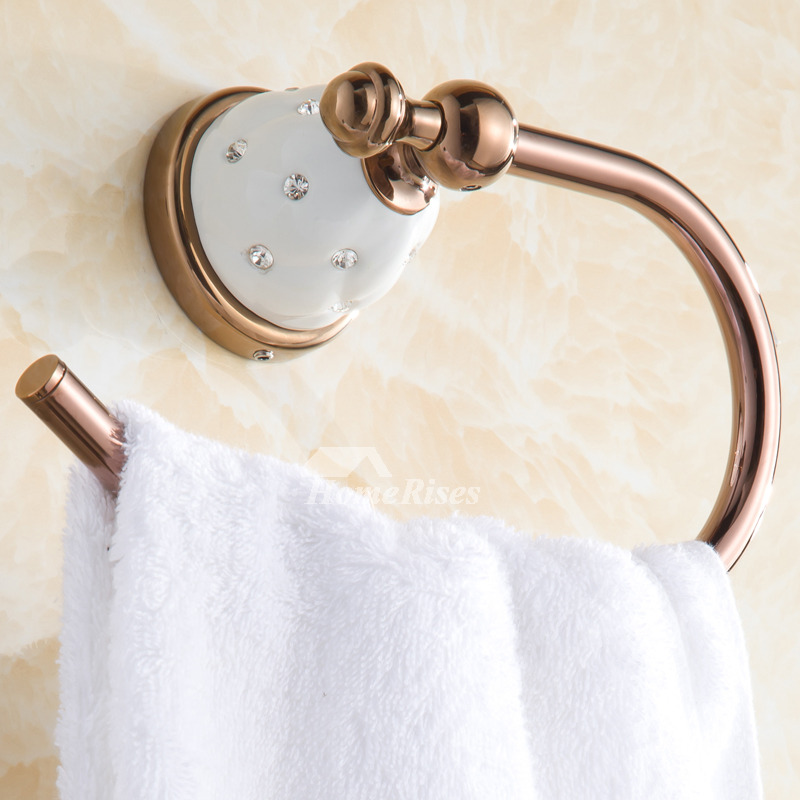 Rose Gold Bathroom Antique Towel Ring  Alloy Porcelain