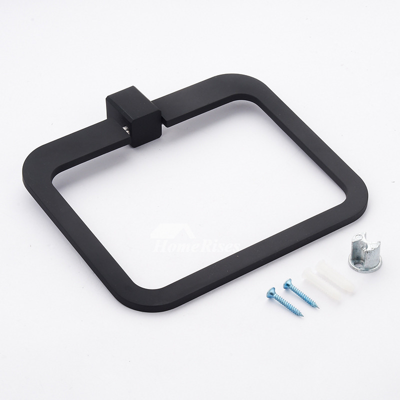 Modern Painting Square Shaped Black Towel Ring