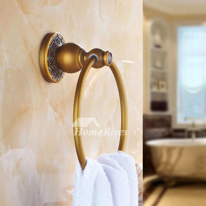 Polished Brass Golden Luxury Towel Ring Bathroom
