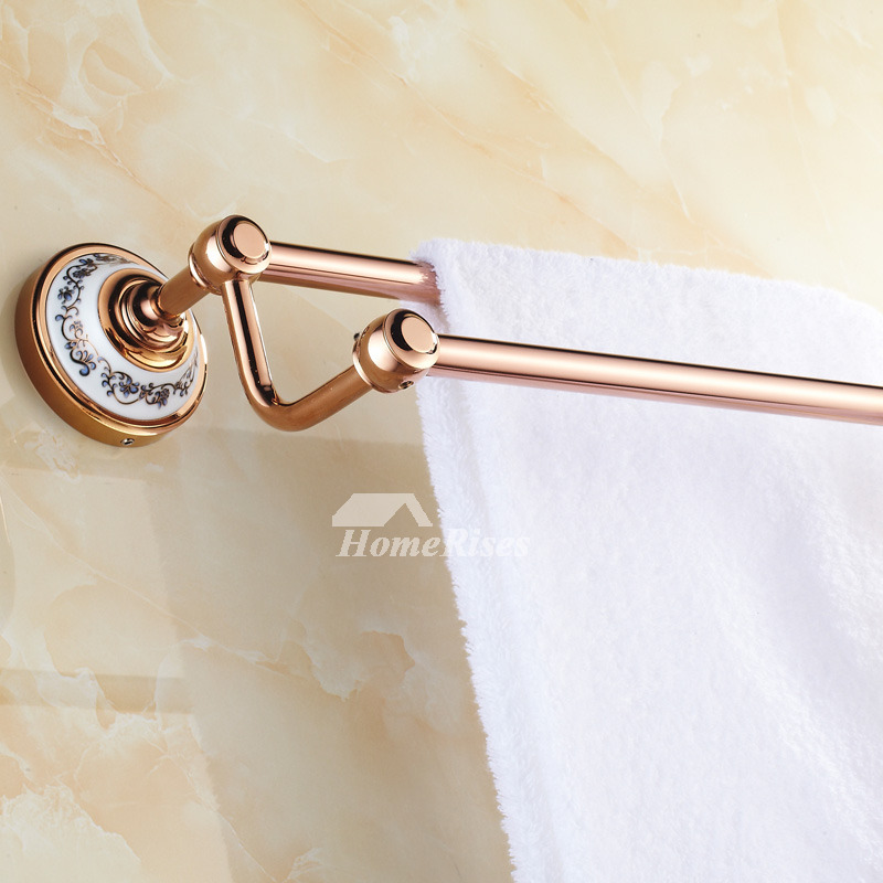 Antique Rose Gold Towel Bars Double Layer Bathroom