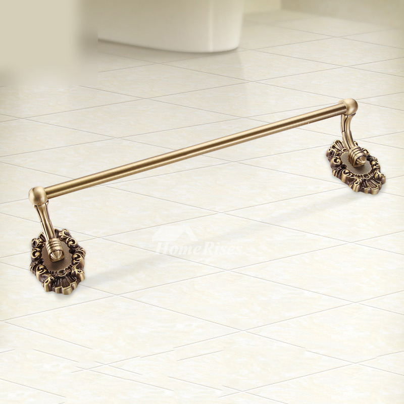 Carved Rose Gold vintage Towel Bars Wall Mount